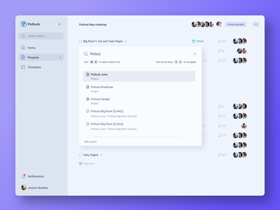 Omnisearch app project management tool project managment task management app task management task dark theme ui dark ui dark theme light theme clean ui minimal ui minimal clean quick search sidebar design sidebar navigation search omnisearch