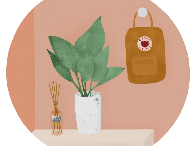 Quentin backpack advertisement plants plant minimalism minimalist realism still life procreate cartoon art flyer create branding illustration