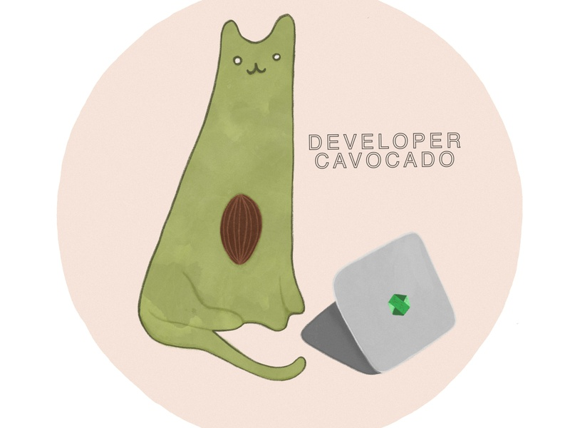 Developer Cavocado comic nodejs sticker avocado cat design cartoon procreate illustration art create advertisement branding