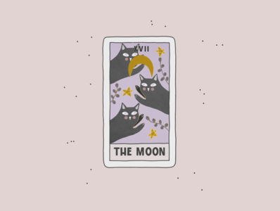 The Moon pastel whimsical star moon tarot card tarot cat cartoon branding procreate illustration create advertisement art design poster flyer