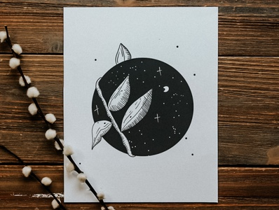 Lunar Vines night moon inking drawing sketch plant comic procreate cartoon branding illustration create art design poster flyer