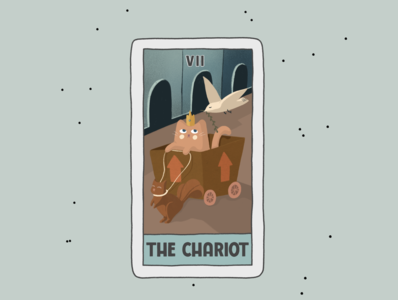 The Chariot witchy cards card tarot poster design art cartoon cat procreate advertisement illustration branding