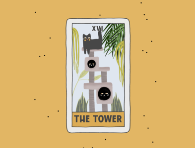 The Tower plant concept creative cards card comic poster design tarot art logo cat cartoon branding procreate illustration