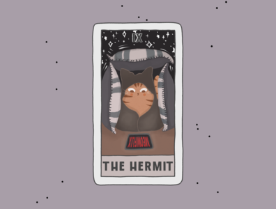 The Hermit cards card graphic design cartoon procreate tarot comic poster cat advertisement logo branding art illustration