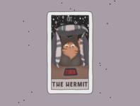 The Hermit cards card graphic design cartoon procreate tarot comic poster cat advertisement logo branding art illustration