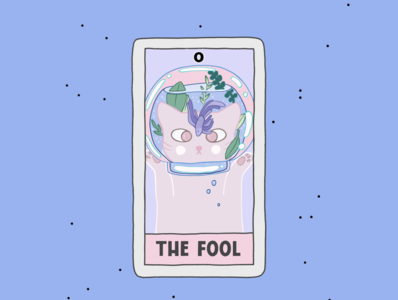 The Fool card comic cartoon design poster cards tarot cat create advertisement illustration procreate branding