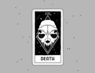 Death halloween spooky skeleton grimreaper death handmade comic card cards tarot cat create illustration branding procreate flyer design poster art