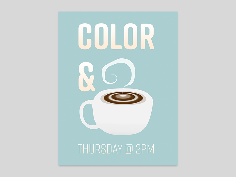 Color & Coffee Club club advertisement blue gradient cup smoke element illustrator adobe coffee