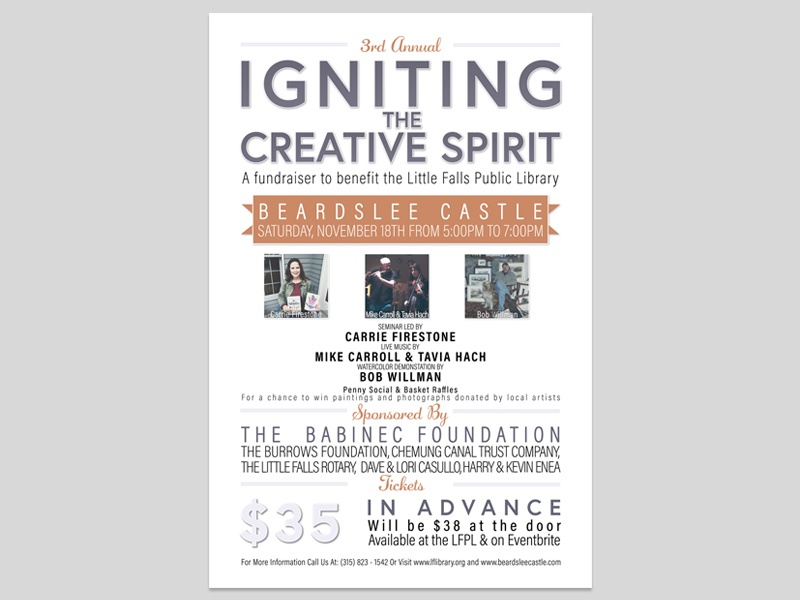 Igniting the Creative Spirit v.3 event flyer event marketing advertisment graphic design library autumn fall banner poster flyer fundraiser