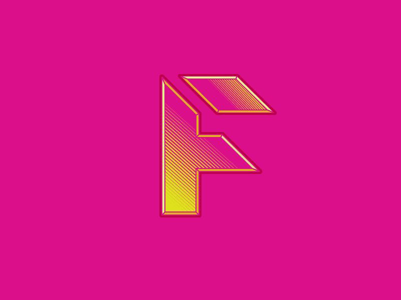 #Typehue Week 6: F yellow pink colour tron typography design retro type f