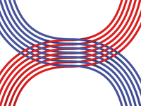 #Typehue Week 8: H red blue round shapes logo monogram illustration overlap gradients typehue h type
