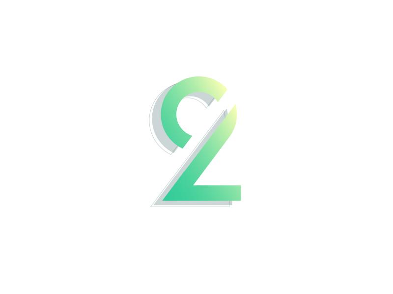 #Typehue Week 29: 2 lines circle green illustrator 3-d gradient vector typography type design numbers two 2