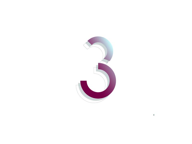 #Typehue Week 30: 3 lines circle red illustrator 3-d gradient vector typography type design numbers three 3