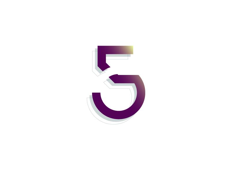 #Typehue Week 32: 5 lines circle red illustrator 3-d gradient vector typography type design numbers five 5