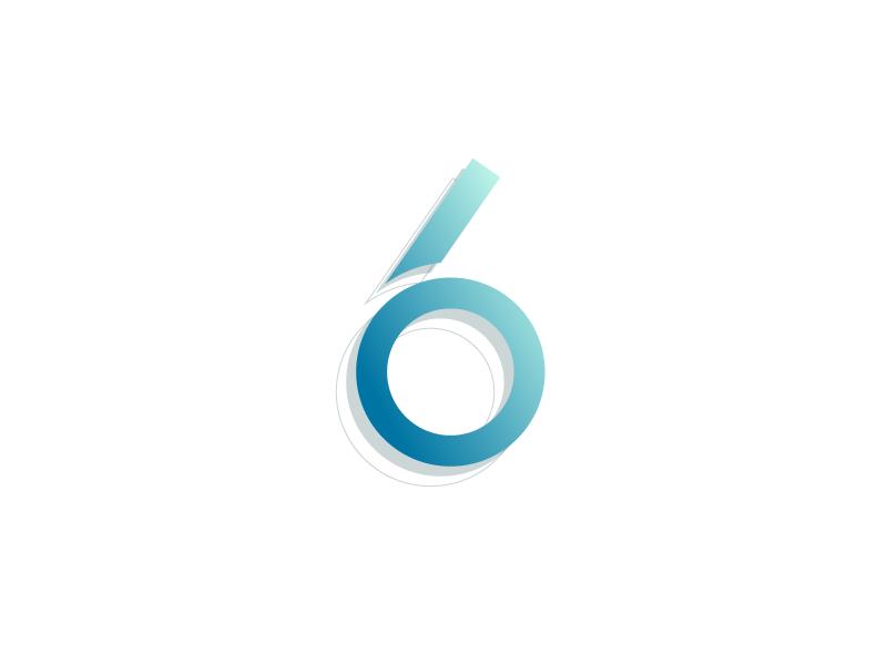 #Typehue Week 33: 6 line circle blue illustrator 3-d gradient vector typography type design numbers six 6