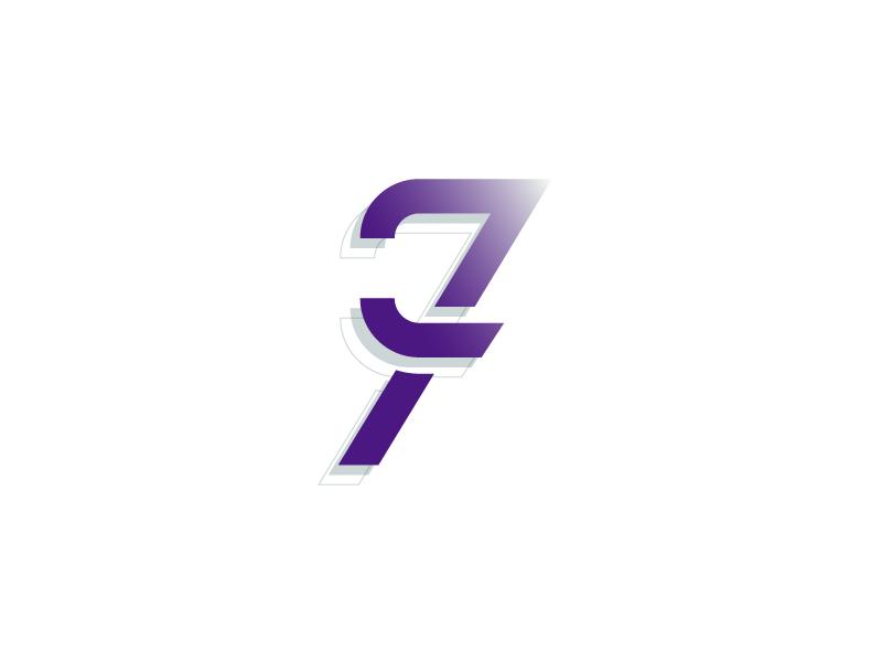 #Typehue Week 34: 7 lines circle purple illustrator 3-d gradient vector typography type design numbers seven 7