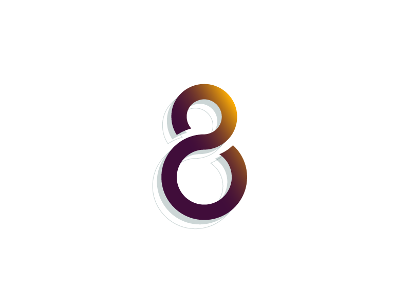 #Typehue Week 35: 8 maroon yellow illustrator 3-d gradient vector typography design type numbers eight 8
