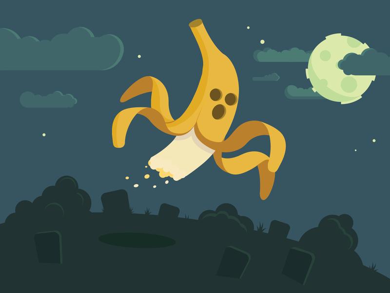 I ain't afraid of no (banana) ghost! illustrator vector art moon night bandit-hustler why illustration vector ghost banana