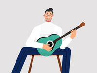Character playing guitar