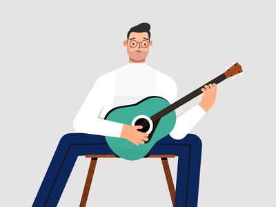 Character playing guitar animation after effects animated motion design character animation animation character design affinity designer illustration vector design