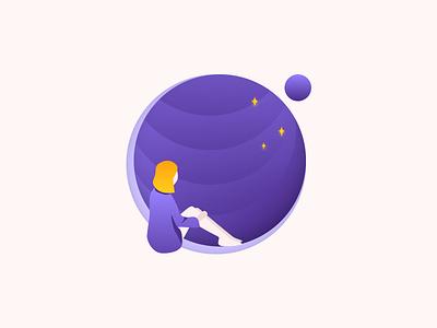 Look beyond inspiration purple gradient flat art mood illustration