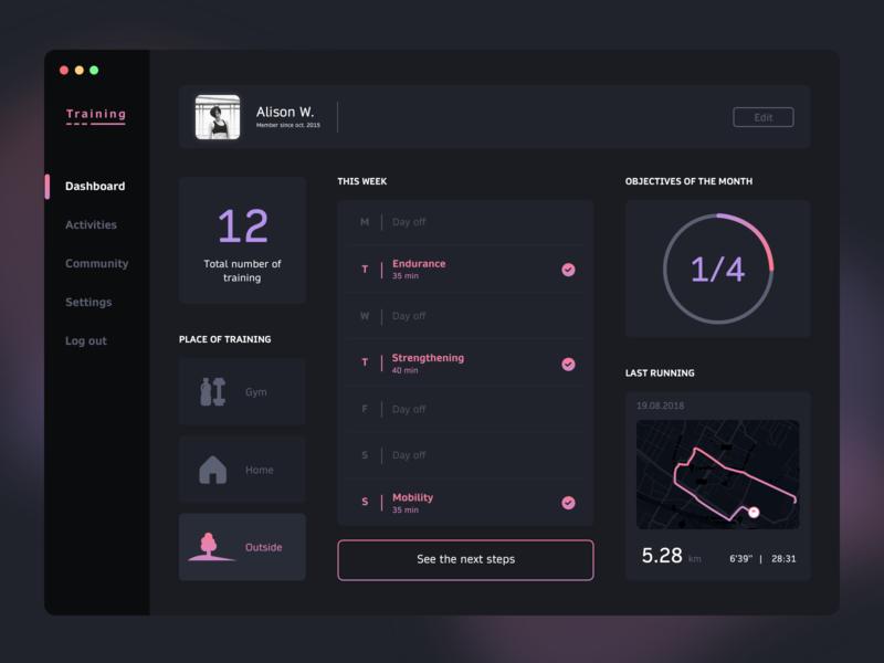 Dashboard - Training challenge sport interface dark dashboard design ux ui ssilbi