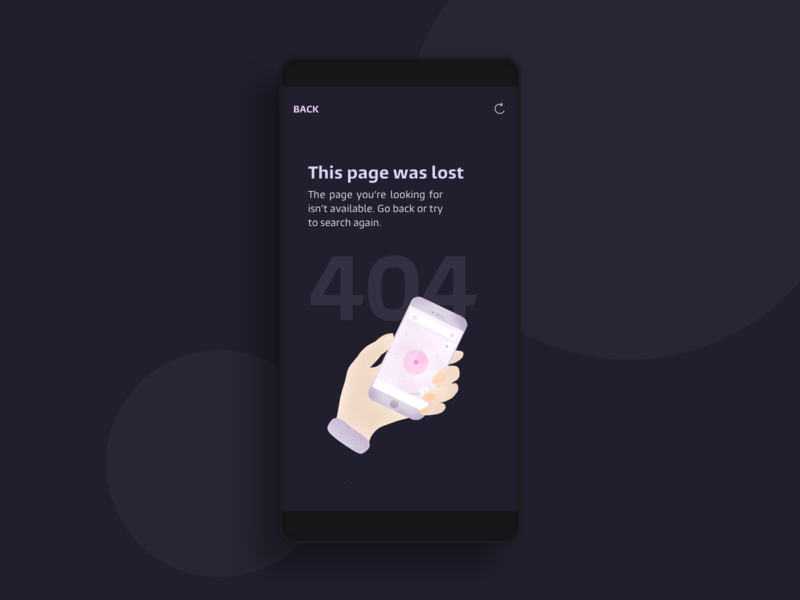 404 Message ui 404 page 404error mobile interface dark illustration design ssilbi