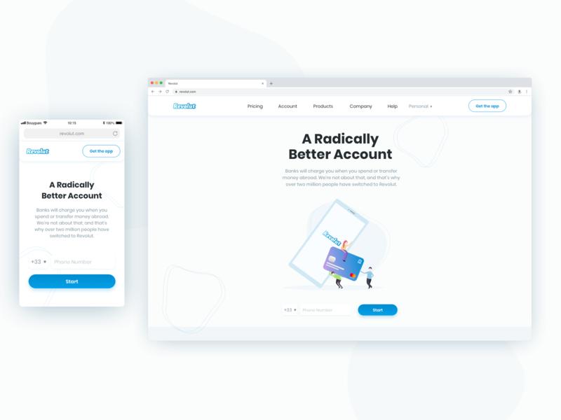 Revolut - Landing Page home bank illustration responsive web mobile website design ux ui landing page revolut