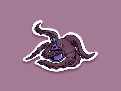 Poisonous october halloween sticker sticker mule illustration design ssilbi octopus