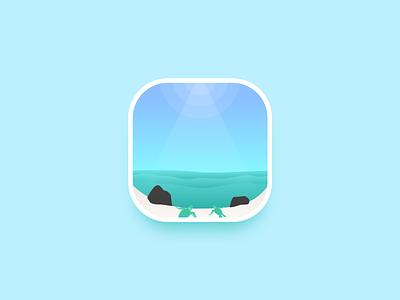 Turtles - To the sea ! icon vector gradient illustration design ui ssilbi