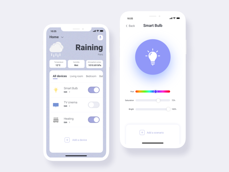 Smart Life re design iphonexs mobile ssilbi interface weather light home connected ui design redesign app smart