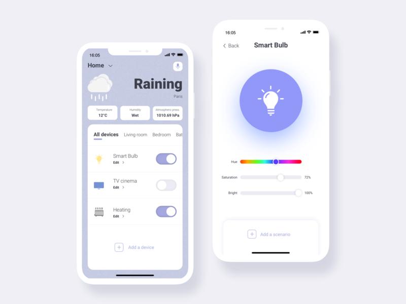 Smart Life re design iphonexs mobile ssilbi interface weather light home connected ui design redesign app smart