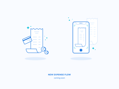New Expense flow 📸 interface coming soon teasing illustration scanning receipt expense ux ui product app payfit