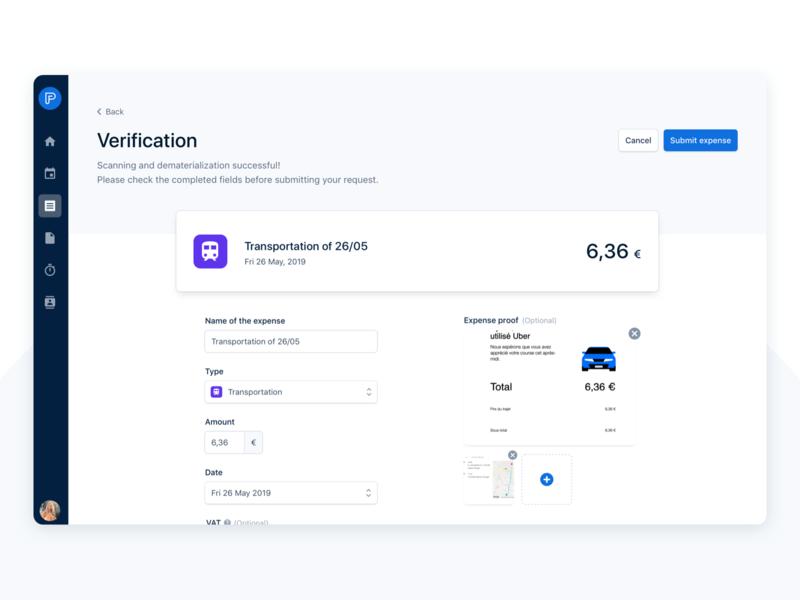 Verification after scanning category attachment recognition form teasing design ux ui desktop app desktop interface payfit verification create scanning ocr expense