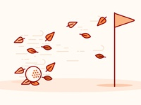 Autumn Golfing fall autumn golf icon ui minimal illustration flat design