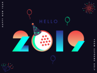 Happy New Year icon typography flat gradient mono weight party celebration minimal design golf
