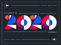 Happy New Year 2020 design shapes lettering numbers 2020 new year illustration gradient typography