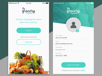 Not signed grocery app notsigned signup login