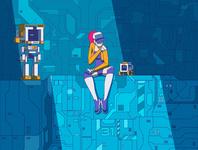 xhyle comp 02 cyberpunk character design vector illustration adobe illustrator 2d xhyle