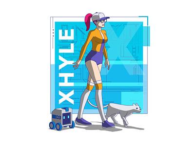 Xhyle bike 03 bmx xhyle robot design graphic design character design cyberpunk 2d illustration vector adobe illustrator