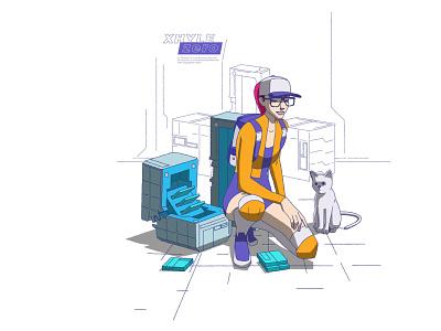 GADGETS design videogame cat xhyle cyberpunk 2d illustration vector adobe illustrator