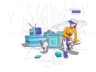 BAD TV xhyle cat character design cyberpunk 2d illustration vector adobe illustrator