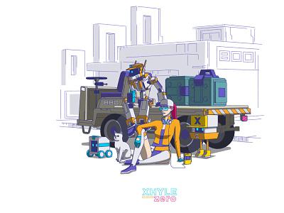 GANG design robot cat character design xhyle cyberpunk 2d illustration vector adobe illustrator