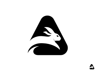 Bunny jump negativespace animal rabbit bunny logotype mark logo