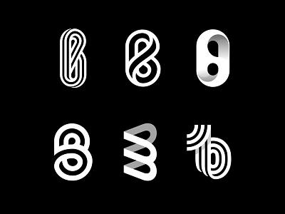 B variation mark logotype logo letter monogram shadow b