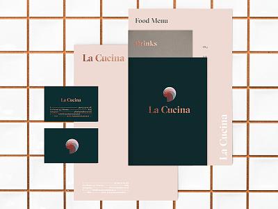 La Cucina 2d stationary restaurant mark logo branding brand identity