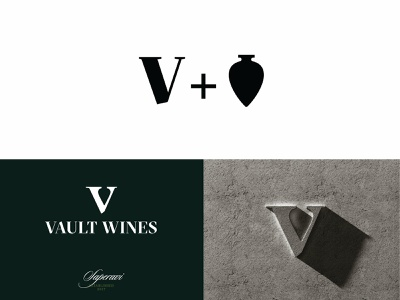 Vault Wines wine brand type identity design 2d typography branding monogram logotype mark logo