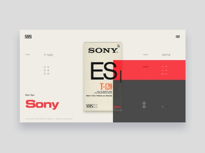 VHS Tribute - Sony ES T-120 typography grey light red tribute vintage colors ui website