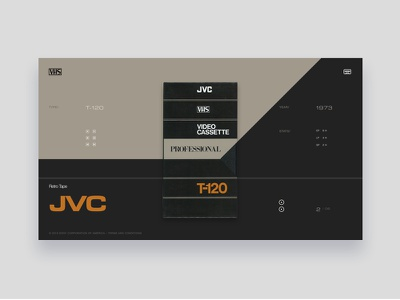 VHS Tribute - JVC T-120 typography dark grey light beige tribute vintage colors ui website