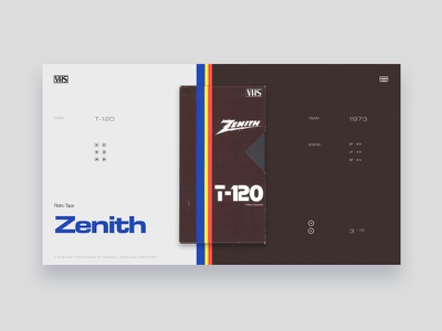 VHS Tribute - Zenith T-120 grid blue yellow typography dark grey light red tribute vintage colors ui website